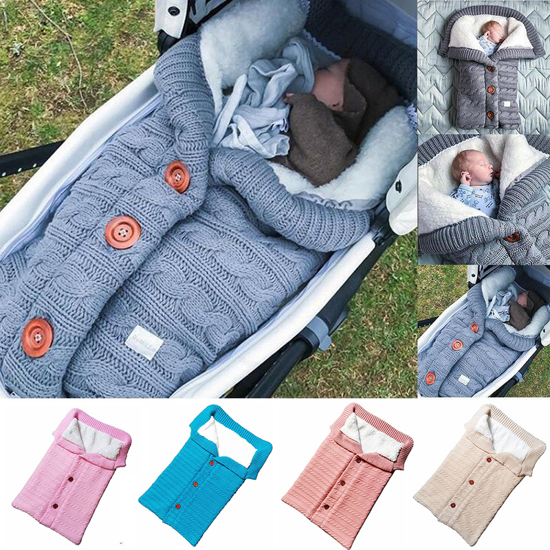 Thick Warm Baby Sleeping Bag Newborn Winter Autumn Warm Baby Stroller Cotton Knit Envelope Blanket Unisex Fleece Sleeping Bag