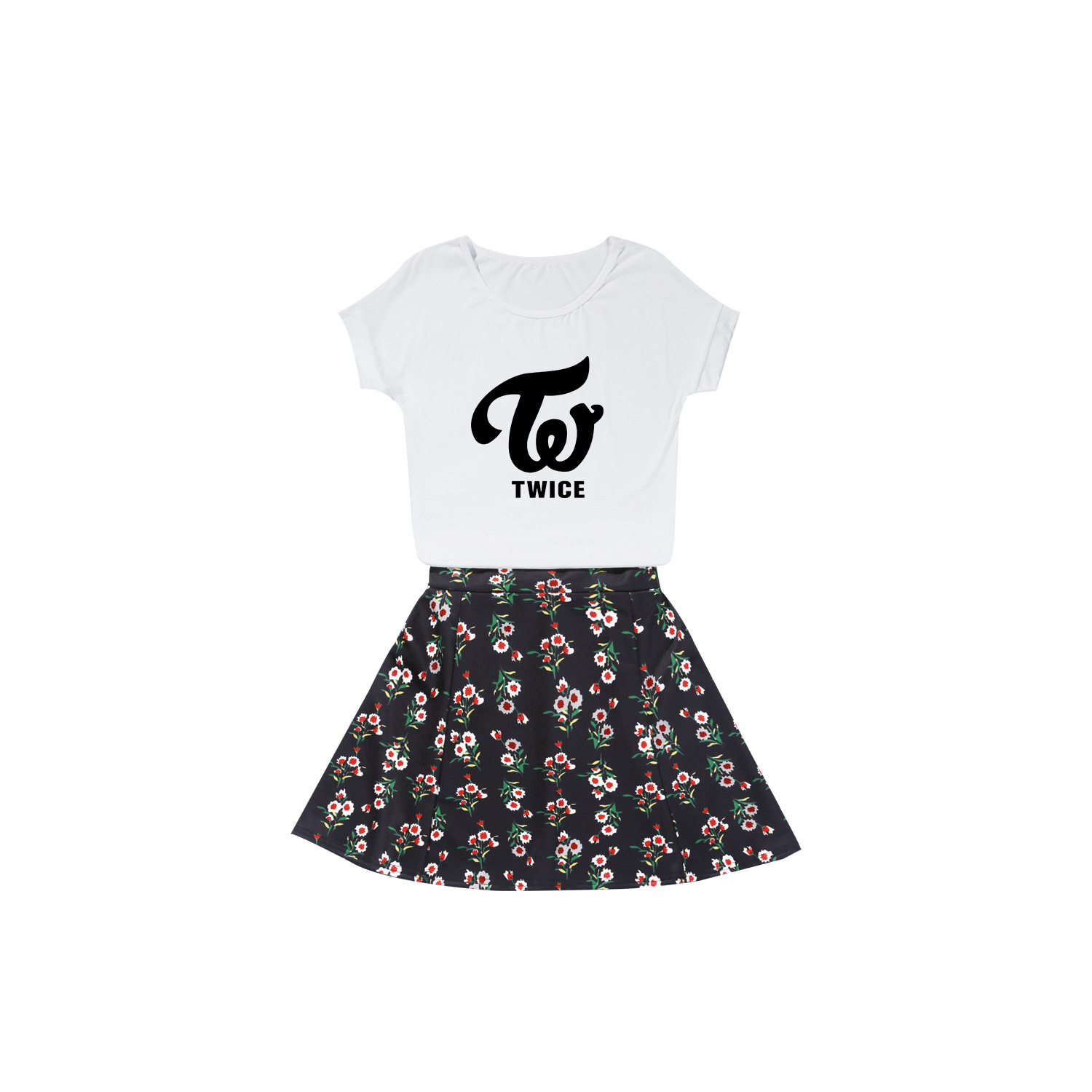 Twice Celebrity Style Korean-style Fashion Short Sleeve Summer Two-Piece Set Sporty Casual Comfortable Navel Short Skirt Set
