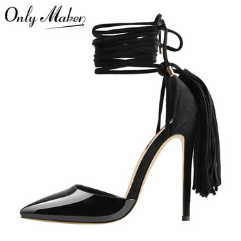 Onlymaker Pointed Toe Balck Lace Up  Fringe Gladiator Tassel Stiletto Heeled Strappy Party Sexy Ankle Strap Sandals