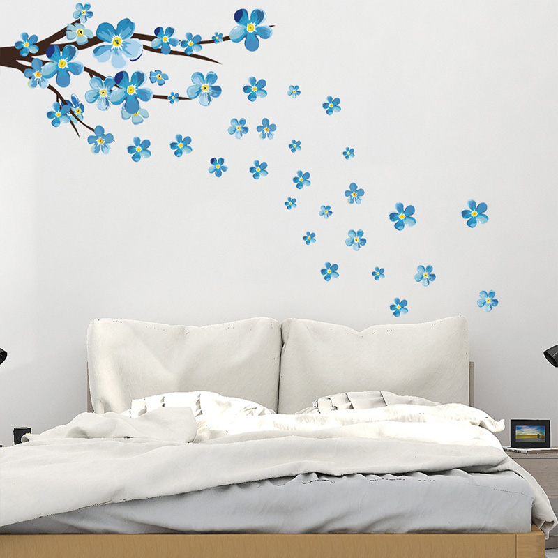 New Style Blue Plum Wall Sticker Art Decals Living Room Sofa Bedroom Wall Background Decorations Plum Blossom Stickers Wallpaper