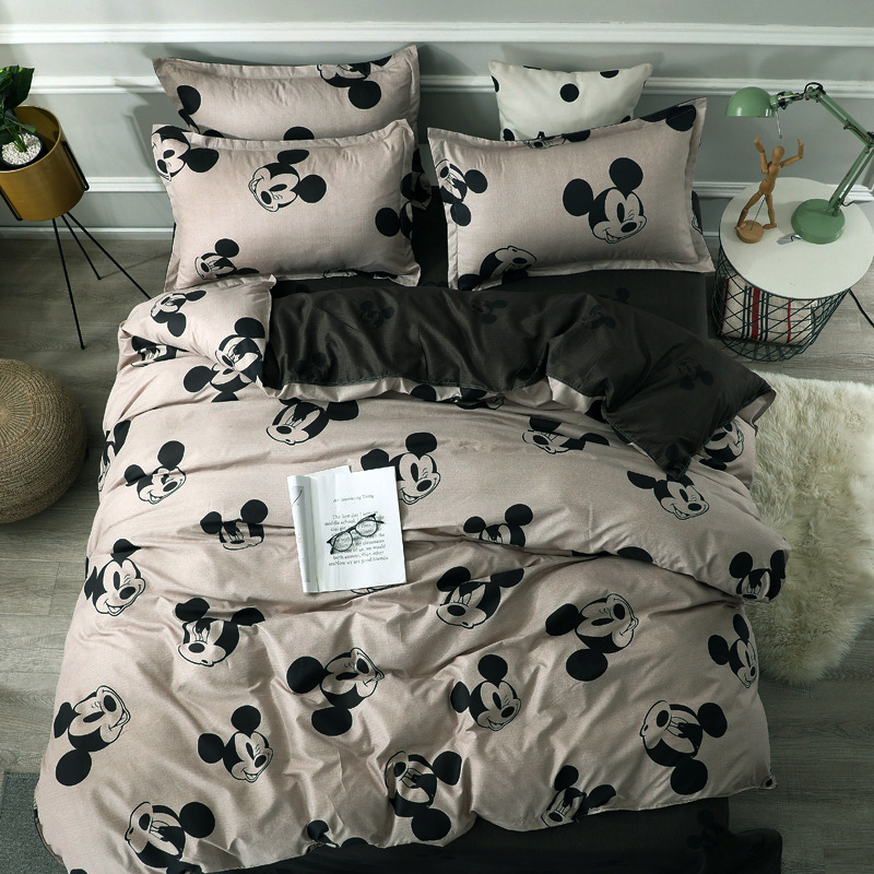 Cute Mickey Minnie Mouse Washed Cotton Bedlinen Bedding Set Duvet Cover Flatsheet Pillowcases  for Women Adults