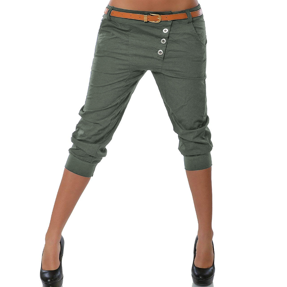 2020 Women Pencil Pant Fashion Solid Color Skinny Calf Length Pants Casual Stretch 3/4 Trousers Summer Female Capris