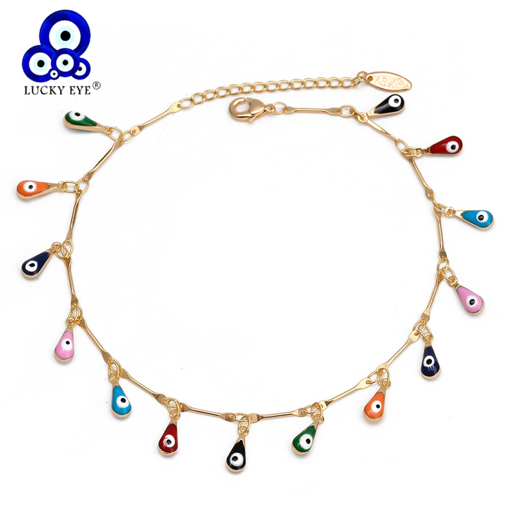 Lucky Eye Water Drop Star Sun Anklet Gold Color Leg Chain Ankle Bracelet Adjustable Fashion Foot Jewelry for Women Girls EY6528