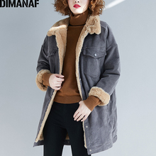 DIMANAF Plus Size Women Jackets Coats Winter Outerwear Thicken Flocking Fleece Oversize Loose Fashion Corduroy Female Clothes