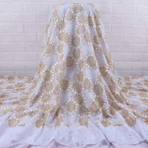 Image 2 - African Lace Fabric 2019 High Quality  French Voile Lace Fabric Embroidery Floret Nigerian Fabric For Wedding Dress Party A1728