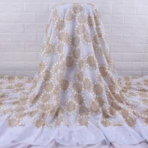 Image 2 - Afrika dantel kumaş 2019 yüksek kalite fransız vual dantel kumaş nakış Floret için nijeryalı kumaş düğün elbisesi parti A1728