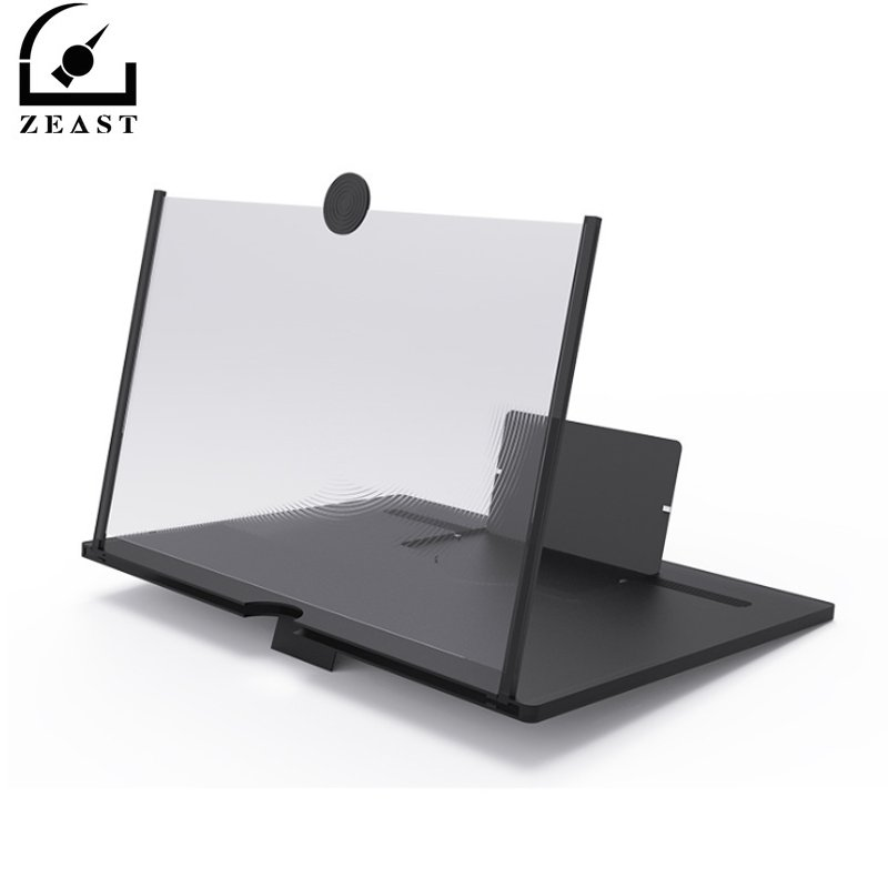 10/12 Inch High Definition Pull Type Cell Phone Amplifier 3D Effect Large Screen With Desk Holder Magnifying Folding For Movie