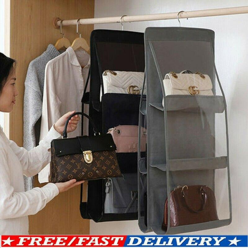 Folding 6 Pocket Hanging Large Handbag Purse Storage Holder Anti-dust Organizer