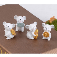 Petite Statue porte-bonheur en forme de souris de dessin animé, Style 1, argent jaune, Fortune, petite Figurine, artisanat, Animal mignon, DIY