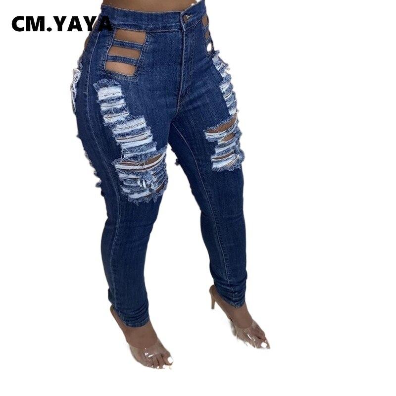 CM.YAYA Frauen Jeans Loch Gerissen Mid Taille Sheahth Elastische Lange Bleistift Denim Hosen Weibliche Casual Mode Streetwear Sommer 2021