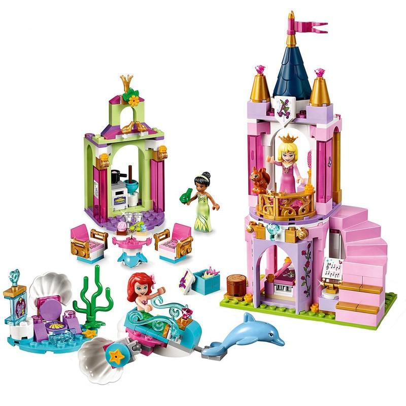 Lepining Friends Princess Series 300pcs The Ariel And Tiana Royal Celebration Brick Toys Children Compatible Building Block