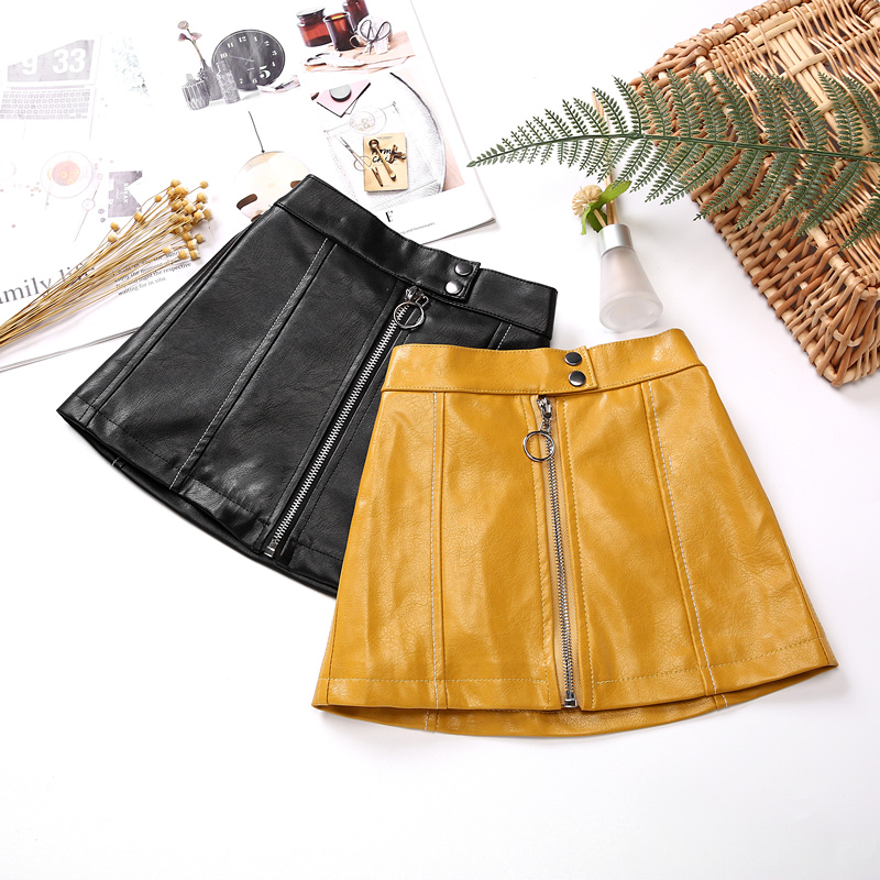 Kids Leather Skirts for Spring Girls Casual Mini PU Leather Skirt Teenager Girl Faux Leather Skirt for Autumn Children 110-160cm 1