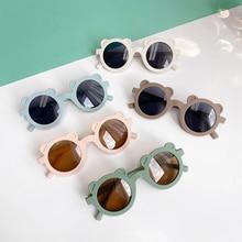 New Kids Sunglasses Cartoon Bear Shape Girls Boy Children Sun Glasses Round Street Beat Eyeglasses Cute Baby Shades Eyewears UV