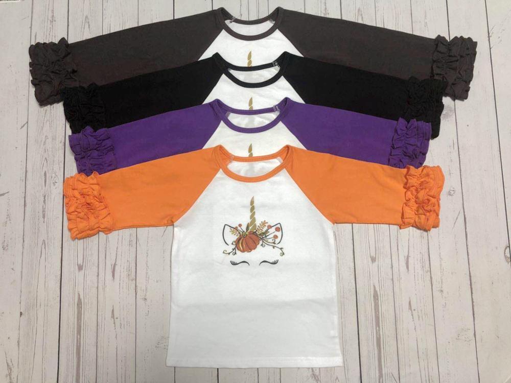 Baby Kid Girl Thanksgiving Day Pumpkin Unicorn Raglan Ruffle Sleeve Tops T-shirt