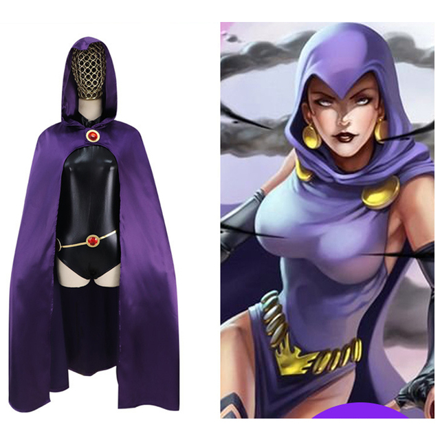 Anime Teen Titans Raven Cosplay Costumes Child Adult Jumpsuits Cloak Gemstone Belt Chain Party Halloween Fancy