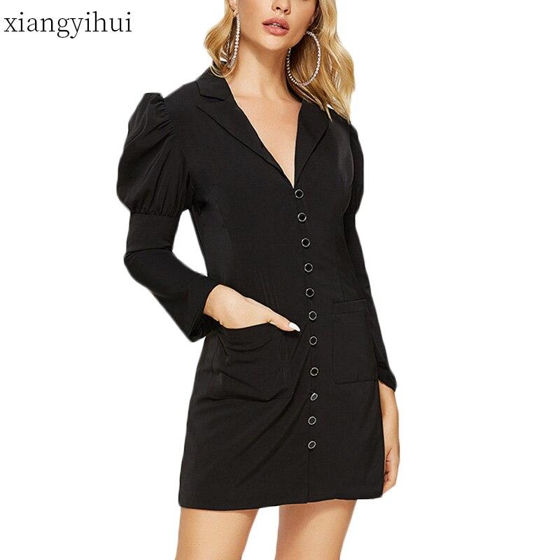 Décontracté col cranté manches bouffantes robes courtes pour femmes dames 2019 haute qualité mode noir une ligne robe bureau Vestidos