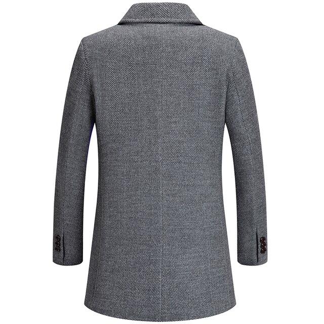 Мужское шерстяное пальто из смешанной ткани с атласной подкладкой осень-весна 4