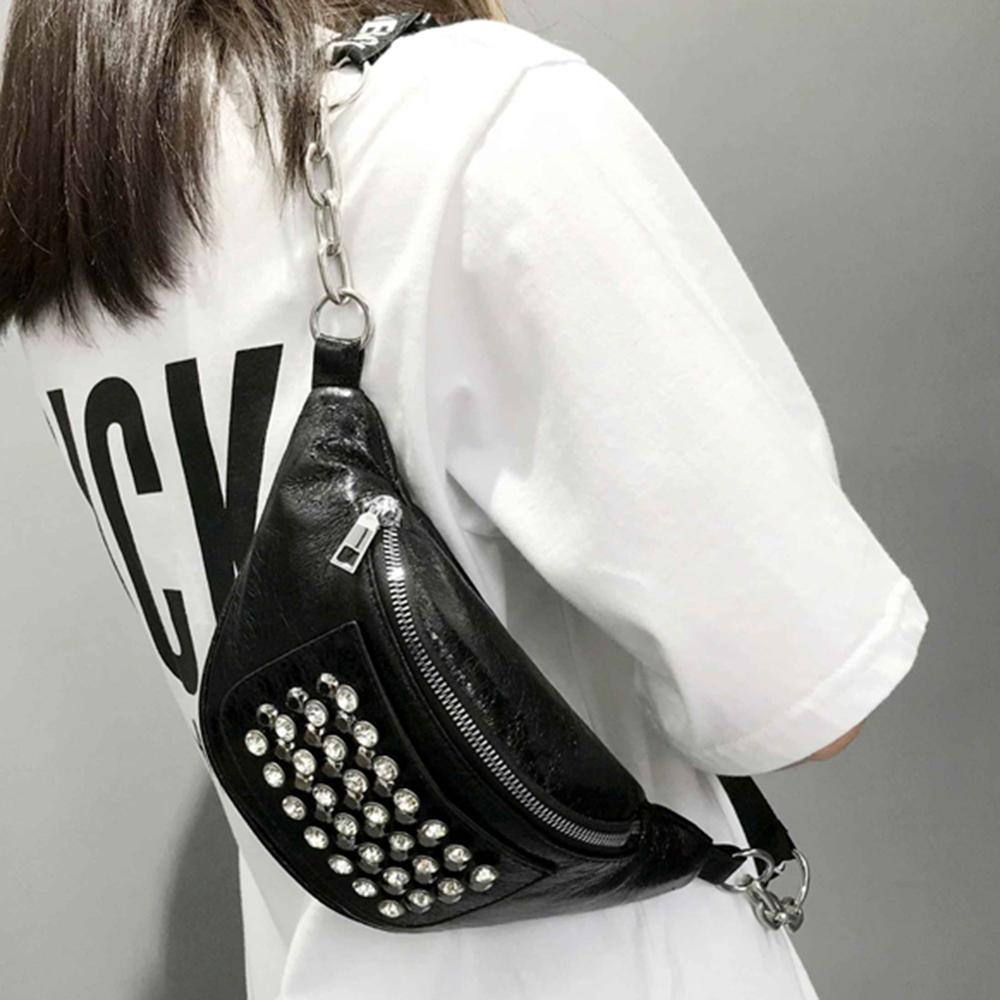 Fashion Women PU Leather Fanny Pack Street Rhinestones Rivets Street Style Belt Bags Zipper Phone Purse Waist Packs Dropshipping