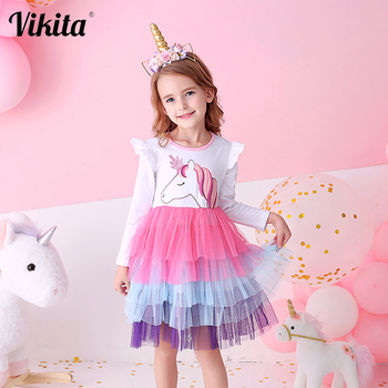 VIKITA Girls Princess Dresses Kids Cartoon Vestidos Children Autumn Dress Kids Dress for Girls Long Sleeve Unicorn Dresses vikita girls unicorn dress princess tutu dress for girls children birthday party licorne vestidos kids autumn winter dresses