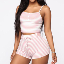Women #8217 s Striped Slim Pajama Two piece Set Summer Sleeveless Crop Top Female Pajama Sets Lace up Shorts Lady Home Clothes Suit cheap LLYGE Polyester HFE5236 Women s Striped Slim Pajama Two-piece Set Spaghetti Strap Lace-up Shorts Lady Home Clothes Suit