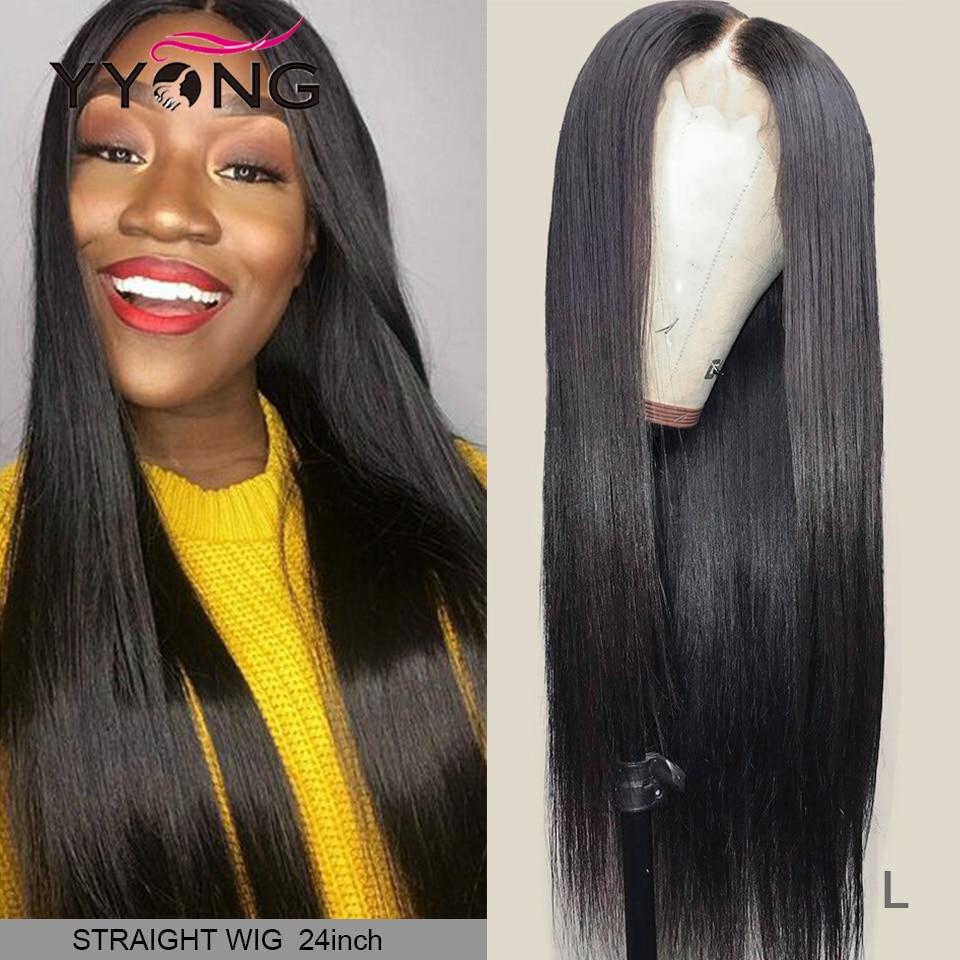 YYong 4x4 Lace Closure Wigs Peruvian Straight Lace Closure Wigs For Black Woman 6x6 Remy Closure Human Hair Wig Low Ratio