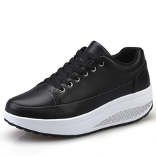 Height Increasing Platform Shoes Women Wedge Sneakers Shock-Absorb Jumping Shoes Leather Toning Shoes Soft Body Shaped Shoes