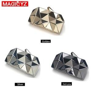 Image 4 - MAGICYZ sac à main pochette géométrique pour femme, boîte acrylique or, sac de soirée à chaîne pour soirée, à bandoulière pour mariage, rencontres ou fêtes