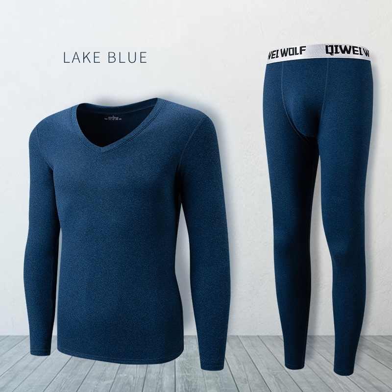 Homens Long johns conjuntos de roupa interior térmica fina de lã material elástico macio Com Decote Em V camisola + cuecas tamanho L para 4XL 5 cores