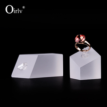 Oirlv Exquisite  Matte Acrylic Earring Exhibitor Holder Stand Set Diamond Shape  Ring for women Jewelry Display Set Organizer