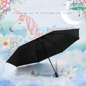 Paraguas Plegable de unicornio para Mujer, sombrilla Plegable de 8k, a prueba...