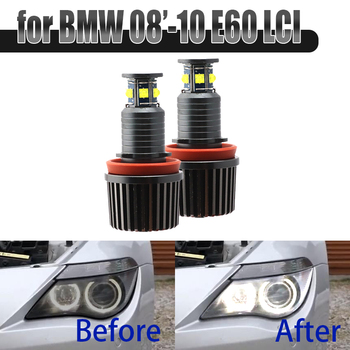 6000K White 120W 6 LED 3000LM Car Angel Eye Marker Headlights Bulbs Lamps for BMW 2008-2010 5 Series E60 (LCI) image