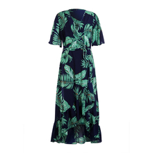 Fashion New Promotion Women's Loose Retro Floral Ruffle Mid-length Dress Summer