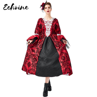 Echoine Gothic Medieval Retro Red Lace Mesh Dresses Vintage Cosplay Vampire Fancy Victorian Dress Halloween Costumes For Women