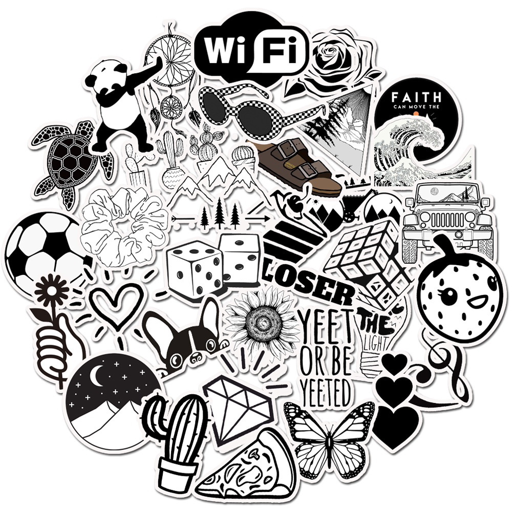 Hot 50pcs Black And White Stickers