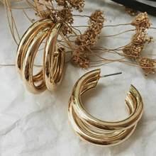 INS – boucles d'oreilles en laiton, trois Triple cerceaux, Vintage, couleur or, métal, bon marché, élégant, épais, bijoux à la mode