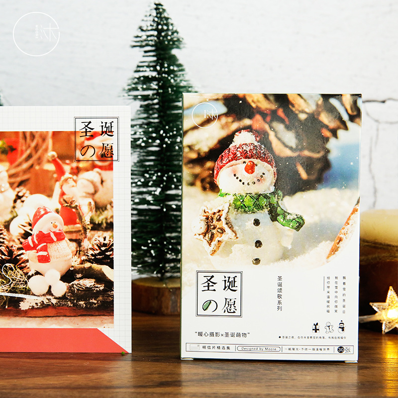 30 Pcs/lot Christmas Wish Postcard Set Letter Envelope Snowman Greeting Cards Gift New Years Postcards
