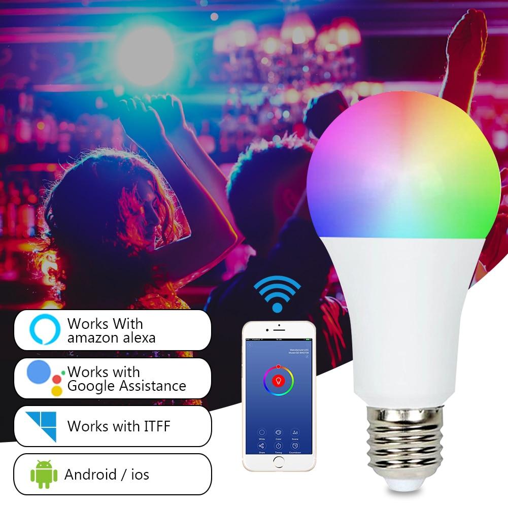 Wifi Smart Light Bulb E27 E14 Color Changing Hue Light RGB CW LED Bulb Dimmable Compatible Amazon Alexa / Google / Apple HomeKit