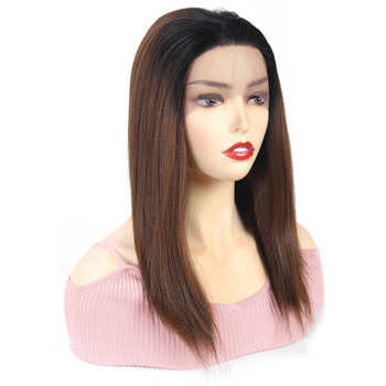 Ombre Brown Synthetic Lace Front Wigs For Women High Temperature Fiber Hair X-TRESS Straight Lace Wig Free Part With Baby Hair