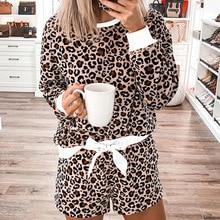 Sleep Lounge Leopard Print Pyjamas Women Sexy Summer Shorts