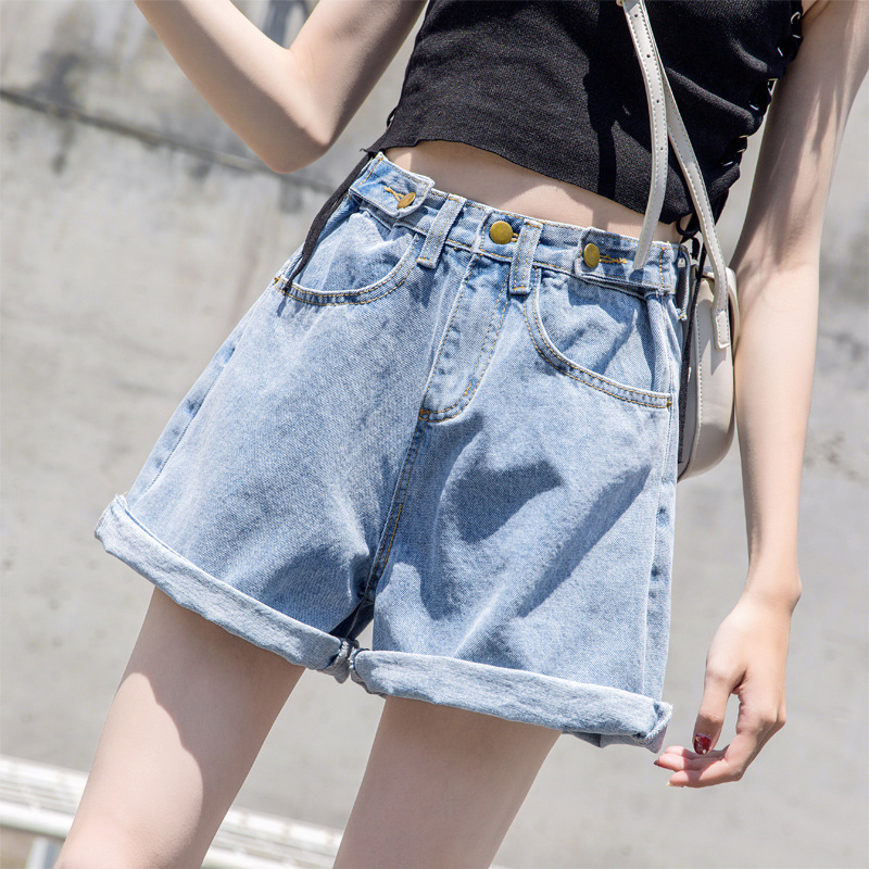 Denim Shorts Female Summer 2019 New Style Korean-style High-waisted Loose-Fit Pants WOMEN'S Dress Solid Color Cowboy Shorts
