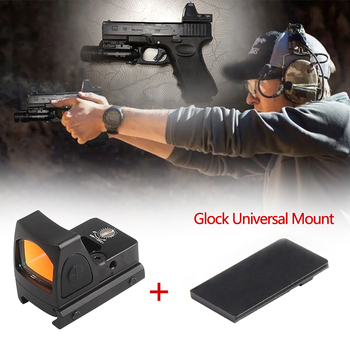 Mini RMR Red Dot Sight Collimator Scope Reflex Sight Scope With Glock Universal Mount Airsoft Hunting Rifle Optical  Sight shipping free hot sale 4x32 acog style red fiber rifle scope with mini red dot sight for hunting bwr 046r