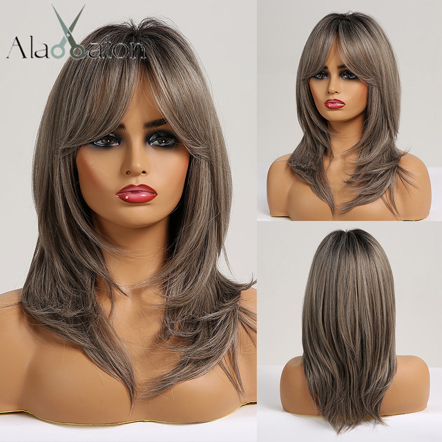ALAN EATON Medium Layered Straight Synthetic Wig for Black Women Ombre Black Brown Gray Ash Hair with Bangs Heat Resistant Fiber