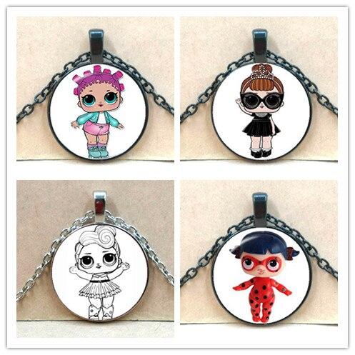 Doll Necklace Princess-Dress Birthday-Gift Cartoon Glass Flash LOL Anime Baby Children