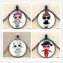 Мультяшное Кукольное ожерелье LOL милое детское флэш-Кукольное платье принцессы цепочка со стеклянным кулоном аниме детский подарок на день рождения
