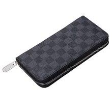HORIZONPLUS New luxury grid Vegan Leather wallet Seat coin z