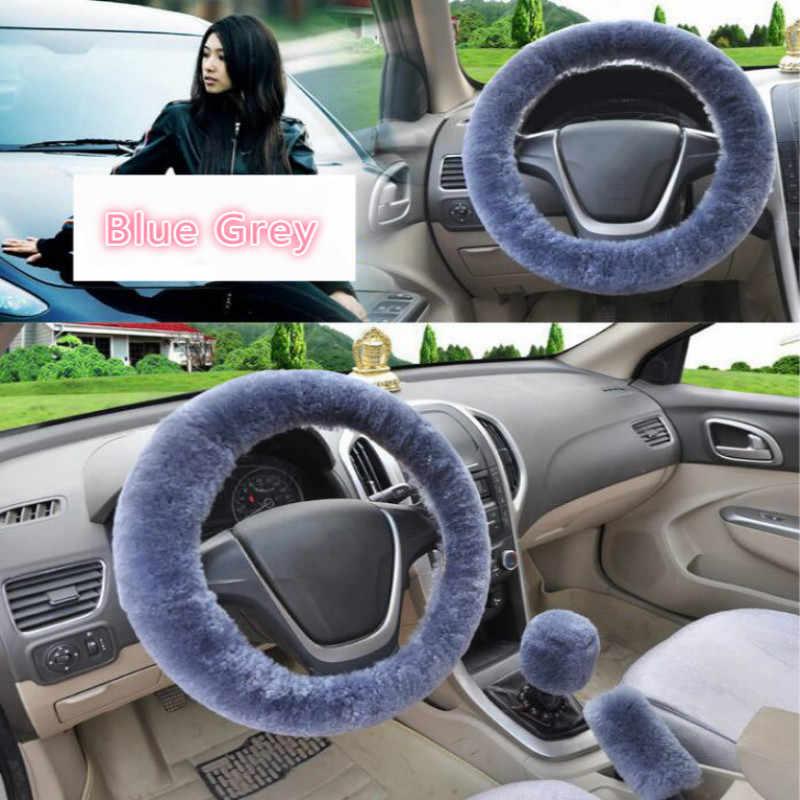 Evrensel direksiyon simidi peluş araba direksiyon kapakları kış taklit kürk el fren ve dişli kapağı Set araba İç aksesuar