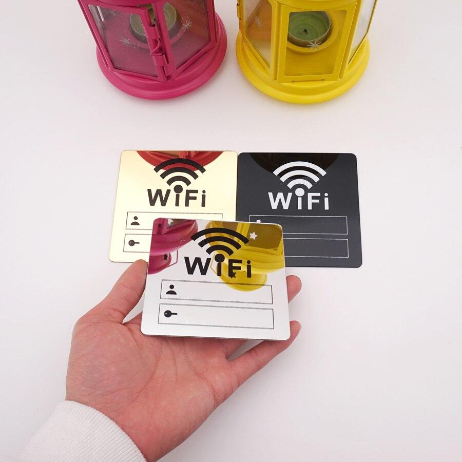 3D акриловые зеркальные настенные наклейки с Wi-Fi знаком, перезаписываемые письма, аккаунт и пароль для общественных магазинов, вывеска с Wi-Fi