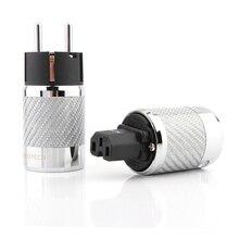 Hifi audio Carbon Fiber Rhodiniert Schuko Power Stecker Stecker IEC Buchse