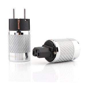 Image 1 - Hifi audio Carbon Fiber Rhodiniert Schuko Power Stecker Stecker IEC Buchse
