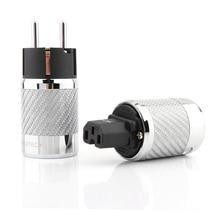 Hifi audio Carbon Fiber Rhodium Plated Schuko Power Plug Connector IEC Female Connector